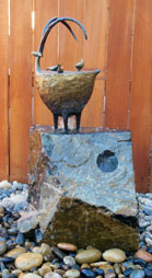 Proud Sheep with Birds and Fountain by Jill Shwaiko